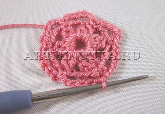 Вязание крючком цветка по схеме