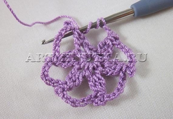 Вязание цветочка крючком для