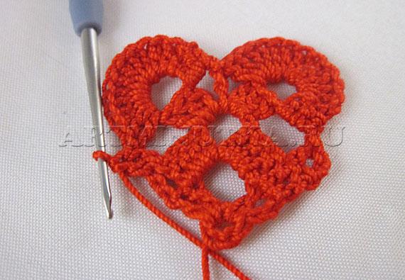 Вяжем крючком сердечко на день Влюбленных - шаг 7 - фото